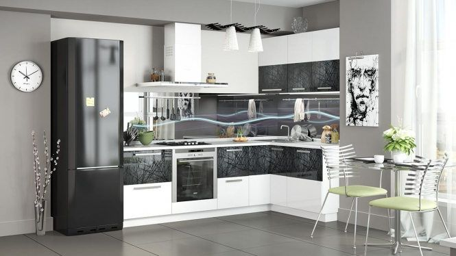 «Фэнтези» модульная мебель для кухни Белый глянец/черный